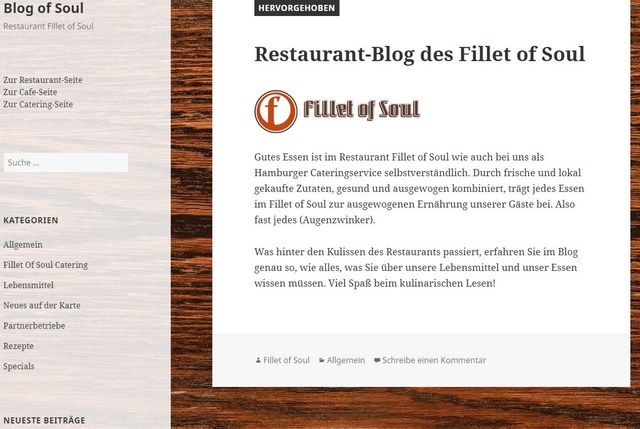 Screenshot Gastro-Blog Fillet of Soul