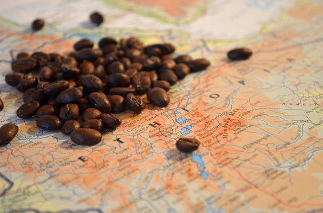 Kaffeebohnen liegen überhalb der Weltkarte verstreut. Unter ihnen steht Äthiopien.