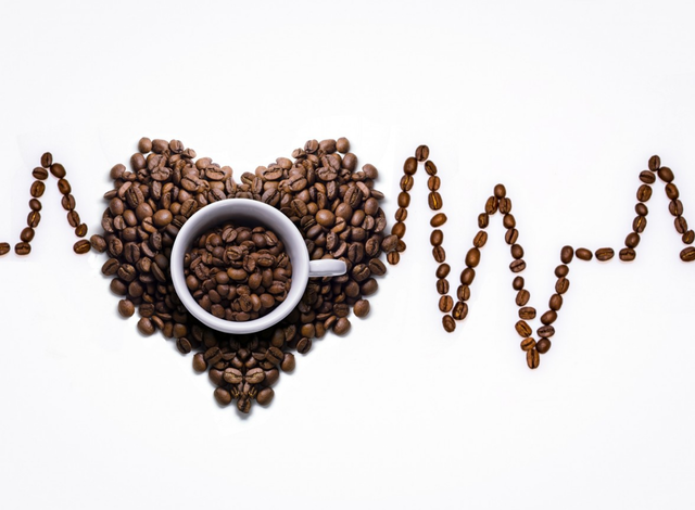 Ein Herzschlag geformt aus Kaffeebohnen. Inmitten der Bohnenlinie steht eine Kaffeetasse.