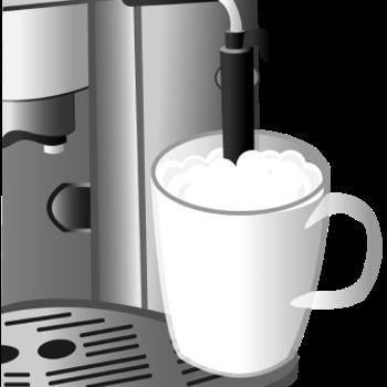 Der Cappuccinatore-Aufsatz ist an dem Kaffeevollautomaten befestigt und seitlich über einen Schlauch mit der Milch verbunden.
