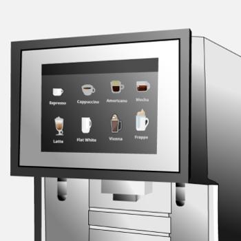 Das Display eines Kaffeevollautomaten mit verschiedenen Kaffeespezialitäten zur Auswahl.