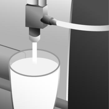 Die Dampflanze ist an den Kaffeevollautomaten integriert und taucht in die Milch ein, um diese anschließend aufzuschäumen.