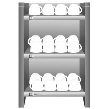 Der Tassenwärmer beinhaltet mehrere Fächer mit Tassen.
