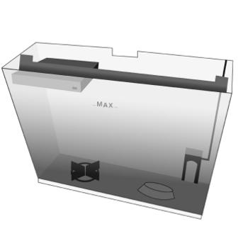 Der durchsichtige Wassertank mit Henkel und Maximal-Befüllmenge.