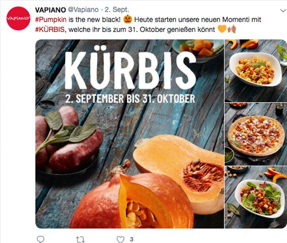 Ein Screenshot eines Twitter-Posts von Vapiano. Mehrere Kürbisgerichte sind auf einem dunklen Holztisch drapiert.